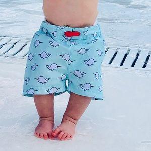 Baby boy narwhal swim shorts